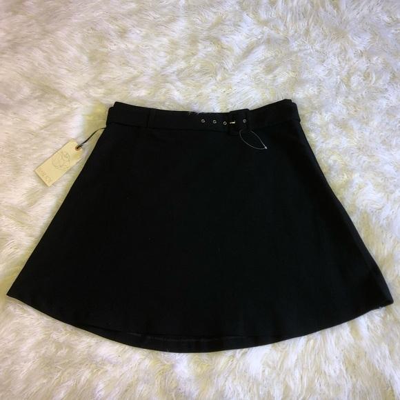 eliane rose Dresses & Skirts - Black a-line skirt with belt